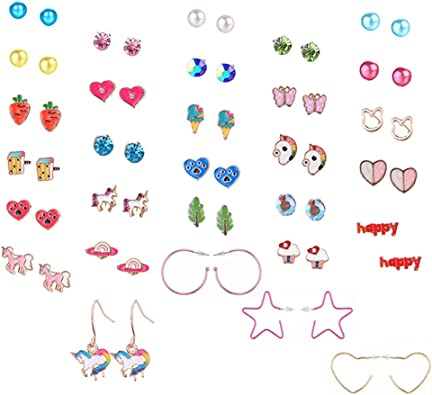 Hypoallergenic 20 Pairs Mixed Color Cute Animals Flower Heart Earrings Set for Girls