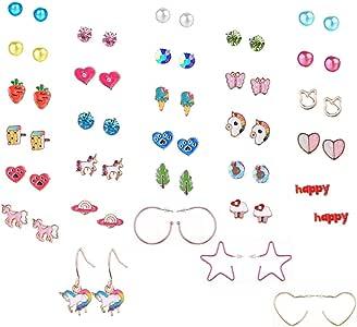 Aganippe 20/24 /30 Pairs Hypoallergenic Stud Earring Set for Women Girls Unicorn Heart Mermaid Scales Rainbow Pearls Owl Rhinestone Cute Mixed Color Stainless Steel Stud Earring Pack