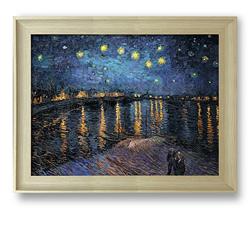 Framed Art Starry Night Over the Rhone by Vincent Van Gogh Famous Painting Wall Decor Natural Wood Finish Frame