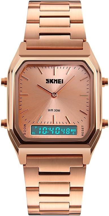 Skmei - Reloj de pulsera digital para hombre, con esfera cuadrada de acero inoxidable, ideal como regalo