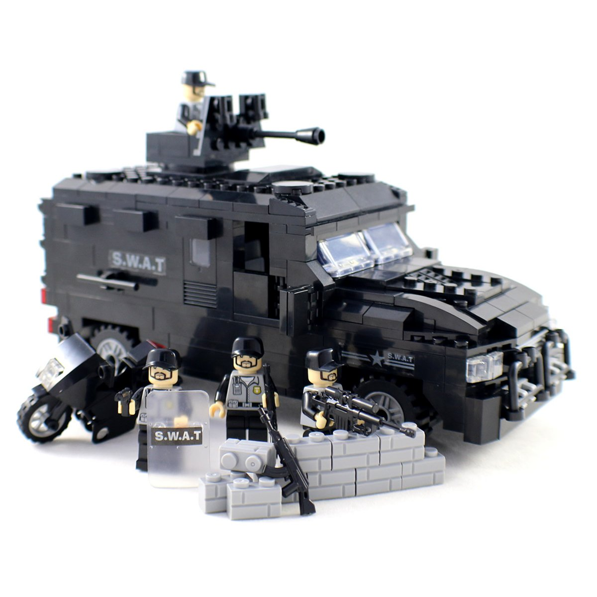 amazon com police swat truck with a motorcycle and guns