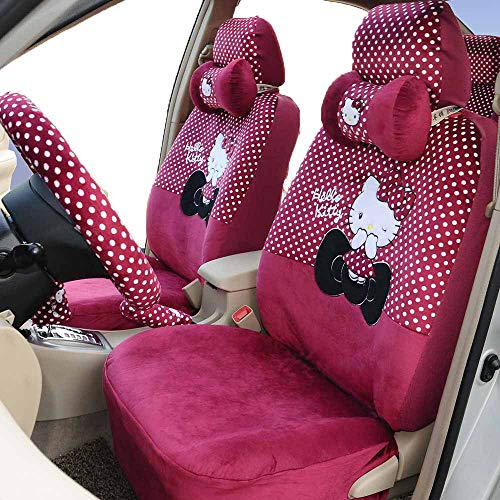 Hello Kitty Universal Car Seat Covers Full Set Automotive Car Seat Cushion (Rose red)