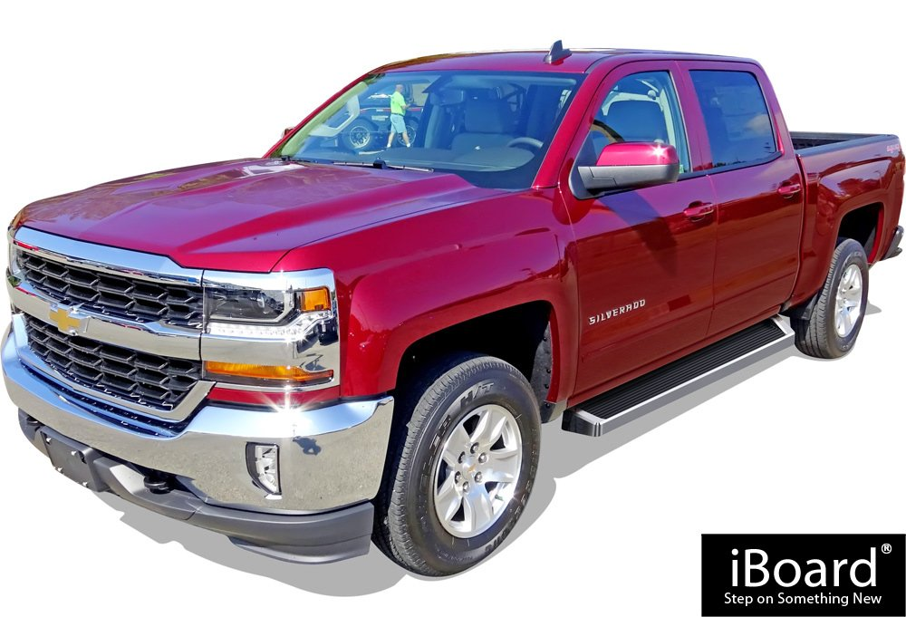 Running Boards Nerf Bars Compatible with 2007-2018 Chevy Silverado GMC Sierra /& 2019 2500 HD 3500 HD Crew Cab Polished Silver 6 inches APS iBoard Include 19 1500 LD Exclude 07 Classic
