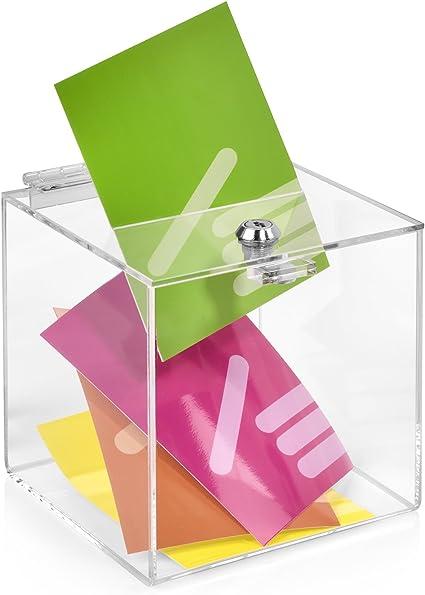 Votaciones/urna para 150 x 150 x 150 mm con candado, cristal acrílico transparente/Dona Caja/ranura Caja/sorteo parte Caja/urna/acrílico/abschließbar – zeigis®: Amazon.es: Oficina y papelería