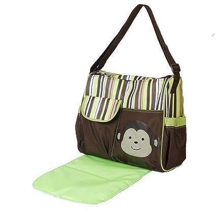 Lookout multifuncional momia bolso cambiador pañales para bebé pañales para pañales bolso cambiador con mono verde