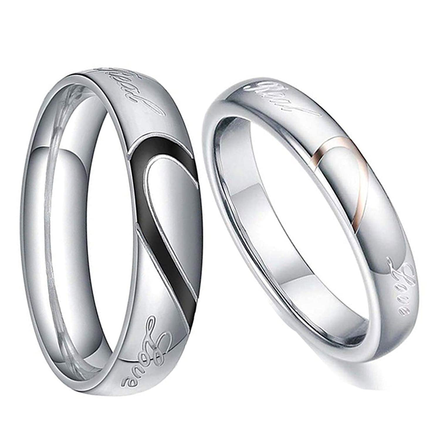 KnSam 4MM Couple Rings Stainless Steel Puzzle Heart Love Ring Black Rose Gold Women Size 7 & Men Size 13