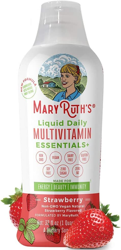 Daily Liquid Vegan Multivitamin by MaryRuth Strawberry w Organic Whole Food Blend Elderberry – Vitamin A B C D3 E Trace Minerals Amino Acids for Energy Immunity Men Women Kids 0 Sugar 32oz