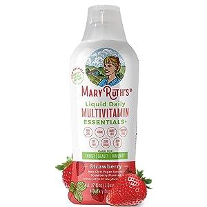 Daily Liquid Vegan Multivitamin by MaryRuth (Strawberry) w/Organic Whole Food Blend + Elderberry - Vitamin A B C D3 E Trace Minerals & Amino Acids for Energy & Immunity Men Women Kids 0 Sugar 32oz