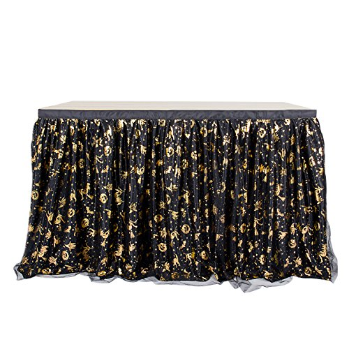 9FT Tulle Halloween Table Skirt Black with for