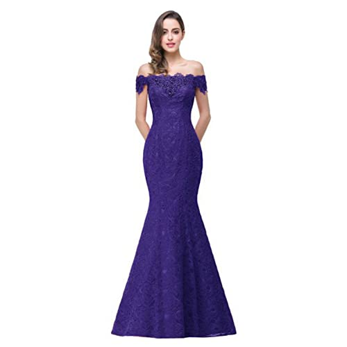 Misshow Shoulder Lace Mermaid Evening Formal Bridesmaid Dress