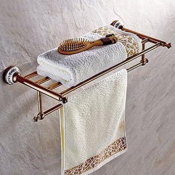 Toalla de baño Estante Rosa de Oro Cobre Toallero baño Estante Colgante: Amazon.es: Hogar