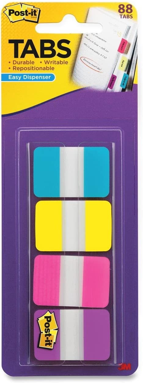 Post-it Tabs, 1-Inch Solid, Aqua, Yellow, Pink, Violet, 22/Color, 88 per Dispenser (686-AYPV1IN) : Office Products