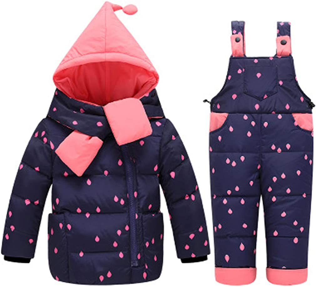 M/&A Baby Girls Boys 2-Piece Lightweight Winter Down Jacket Snowsuit Snow Pants Set