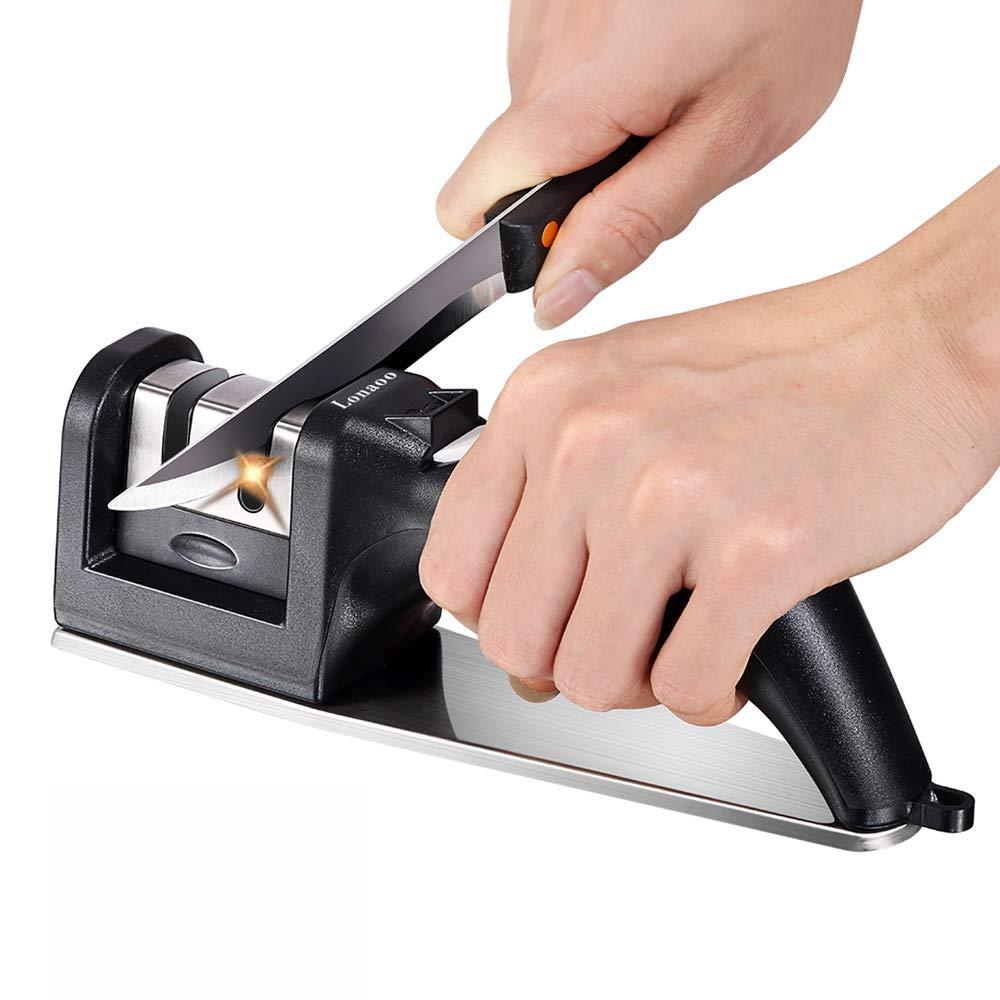 Kitchen Knife Sharpener - Professional 2-Stage Steel Diamond Coated Sharpening Wheel System, Non-Slip Steel Base Chef Choice Knife Sharpening Kit, Easy to Use, Safe (Black)