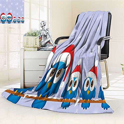 YOYI-HOME Twin Size Bed Duplex Printed Blanket s Super Soft Bird Family with Santa Hats on Electricity Wire Winter Holiday Season Humor Blue Red Fleece Blanket for Bed or Couch/W59 x H47