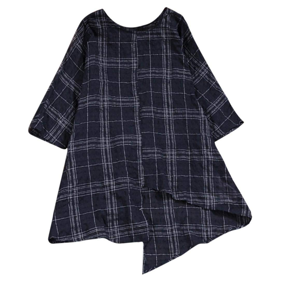Amazon.com : Clearance Women Tops LuluZanm Three Quarter Sleeve Plaid Shirt Blouse Vintage Loose Cotton Linen Top : Grocery & Gourmet Food