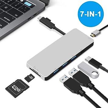 Amazon.com: Neefeaer - Puerto USB C 7 en 1 con adaptador USB ...