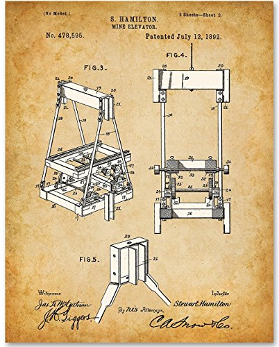 Mine Elevator - 11x14 Unframed Patent Print - Great Gift for Miners or Mountain Cabins