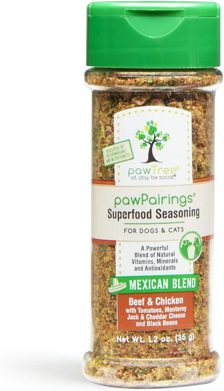 pawTree pawPairings Superfood Seasoning – Superfood Dog and Cat Food Seasoning, Food Topper for Picky Eaters, Flavor Enhancer for Kibble, Canned or Raw. Grain Free, Gluten Free, Made in USA.