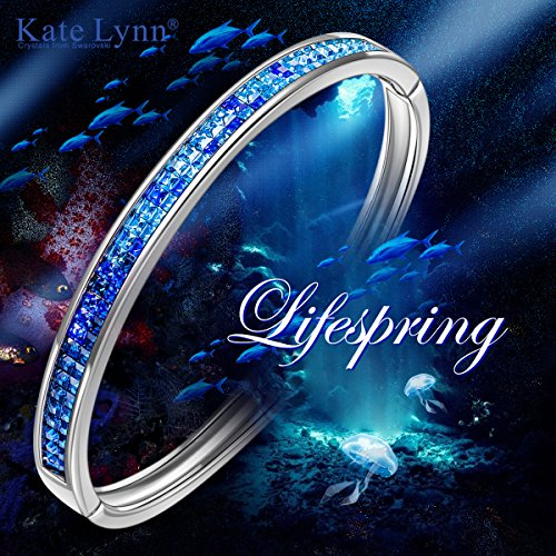Kate Lynn Bangle Bracelet for Mom Blue Swarovski Crystals Jewelry Gifts for Her Bracelet for Women Birthday Gifts for Wife Teen Girls Gifts Present for Women by Kate Lynn (Image #5)
