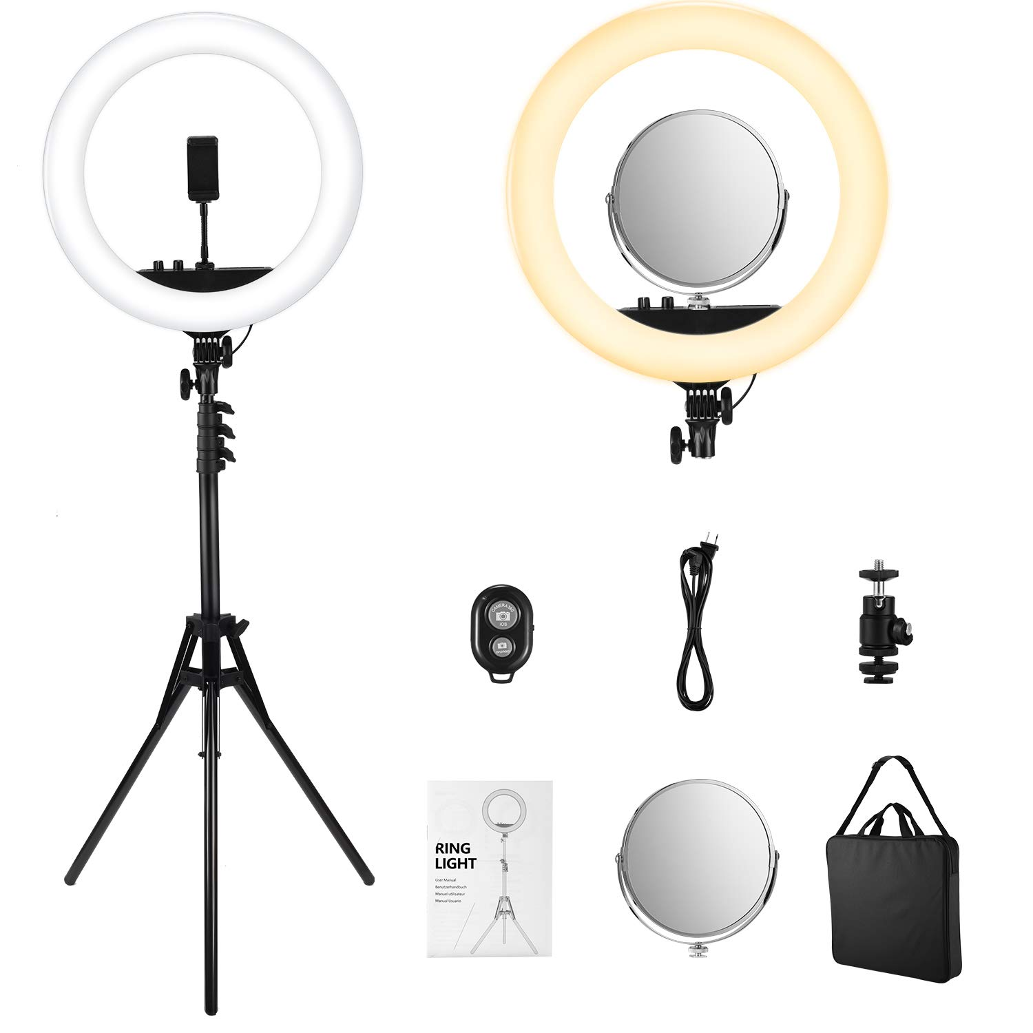 VicTsing LED Ring Light with Color Adjustment Knobs, 18'' Dimmable Ring Light Kit 55W 3200-5600K with Make-up Mirror, 71'' Tripod, Carrying Bag, etc. for Vlog, Video Shooting, Portrait, 2019 Upgraded