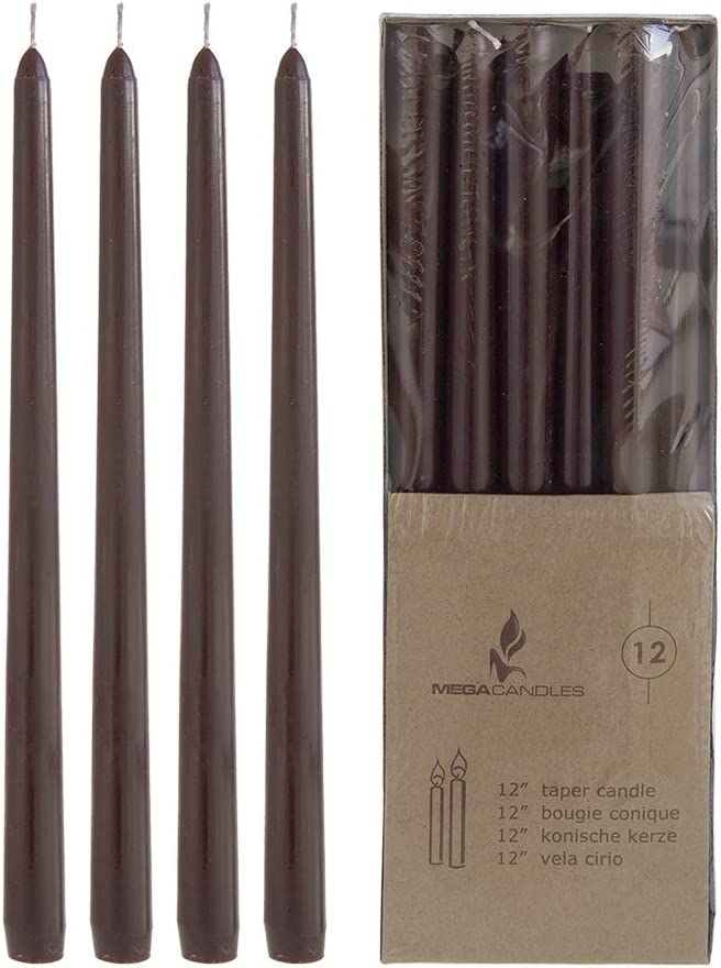 Mega Candles 12 pcs Unscented Brown Taper Candle, Hand Poured Wax Candles 12 Inch x 7/8 Inch, Home Décor, Wedding Receptions, Baby Showers, Birthdays, Celebrations, Party Favors & More