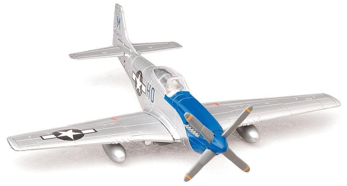 NEWRAY 1:48 PILOT MODEL KIT P-51 MUSTANG SILVER BLUE 20217B1