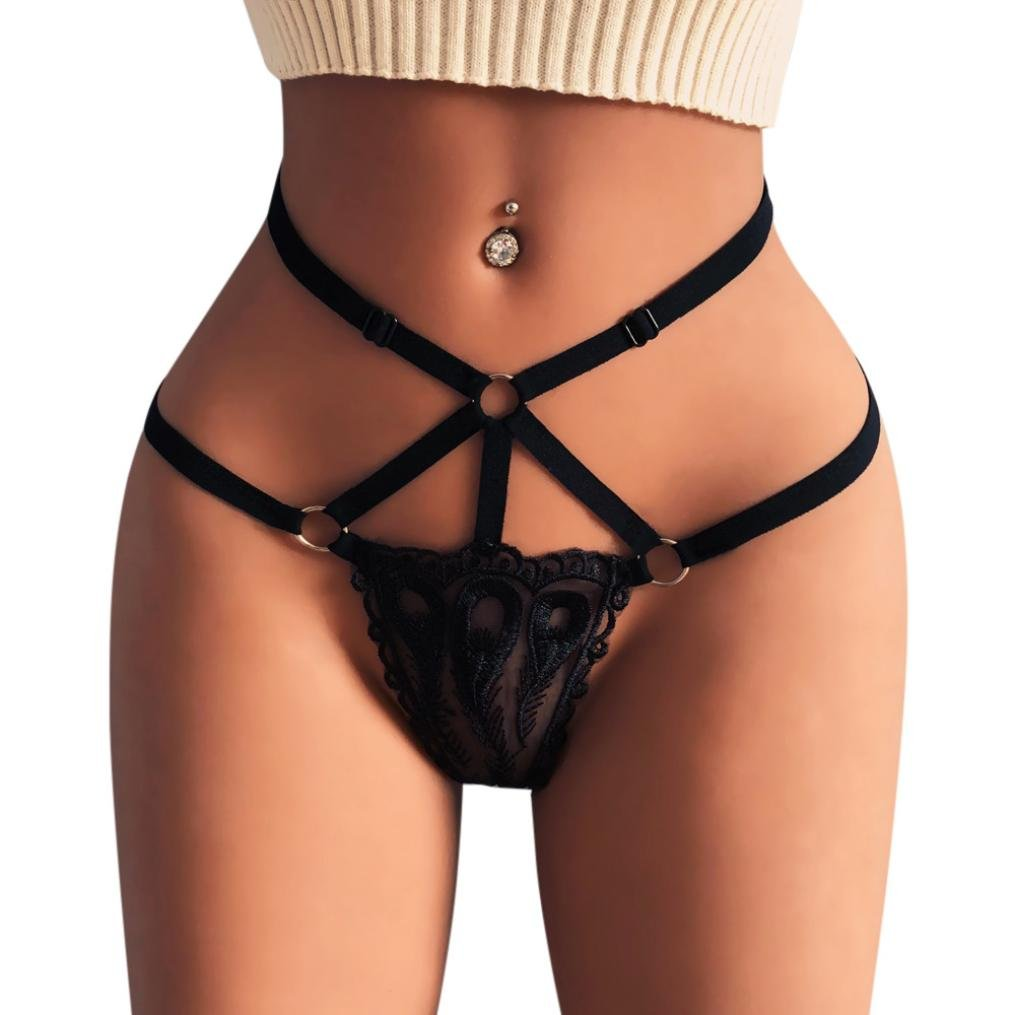 Twinsmall Thongs,Women's Lace G-String Briefs Bandage Panties Hollow Out Thongs Lingerie Underwear Knickers (S,Black)