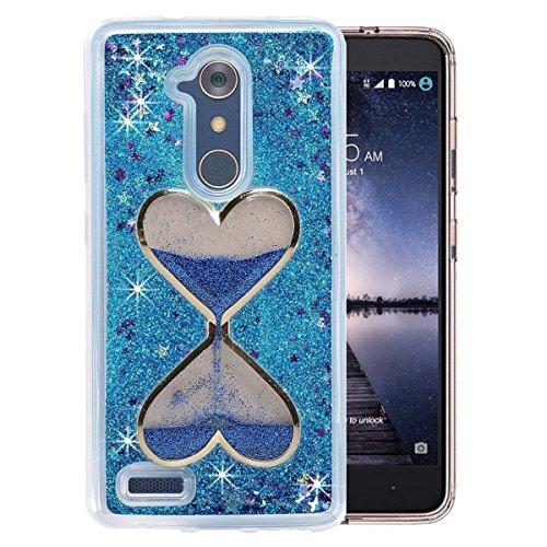 Blue Heart Glitter (ZTE ZMAX Pro Case, QKKE [Wine Glass Diamond Series] 3D Glitter Bling Hearts Flowing Liquid Star Clear Hard Case for ZTE ZMAX Pro/Carry Z981/N9560/Z986 (Hourglass/Blue))