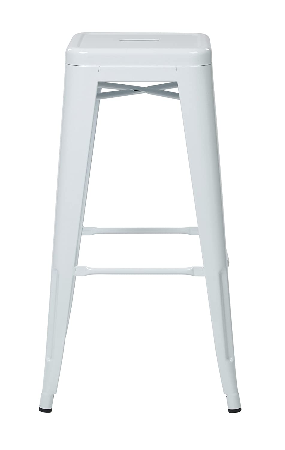 OSP Designs Patterson 30-inch Metal Backless Barstool, White, 2-Pack