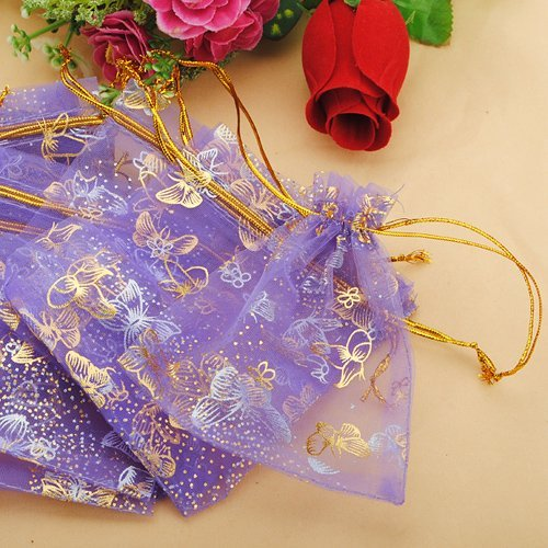 100pcs Butterfly Purple Eyelash Organza Drawstring Pouches Jewelry Party Wedding Favor Gift Bags 3.8