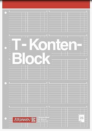 Brunnen 1042025 T-Konten-Block (A4, 25 Blatt, 10 T-Konten je Seite ...