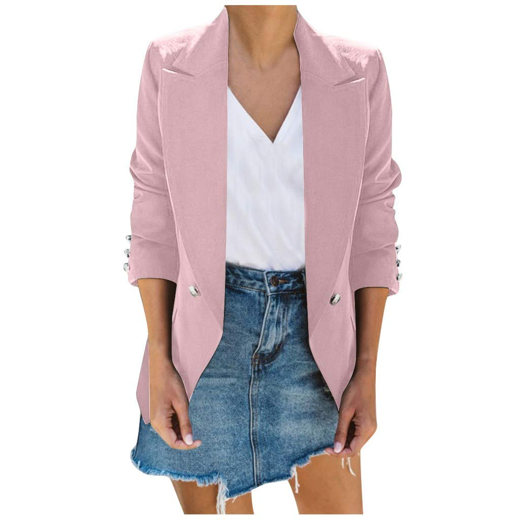 ✷ HebeTop ✷ Womens Long Blazer Work Office Stretchy Open Front Lapel Jacket Solid Knit Blazers Pink by ▶HebeTop◄➟HOT SALES