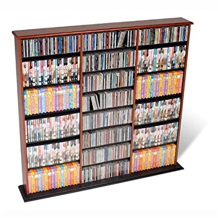 Prepac Triple Wide Wall Storage / CD Rack   Cherry U0026 Black