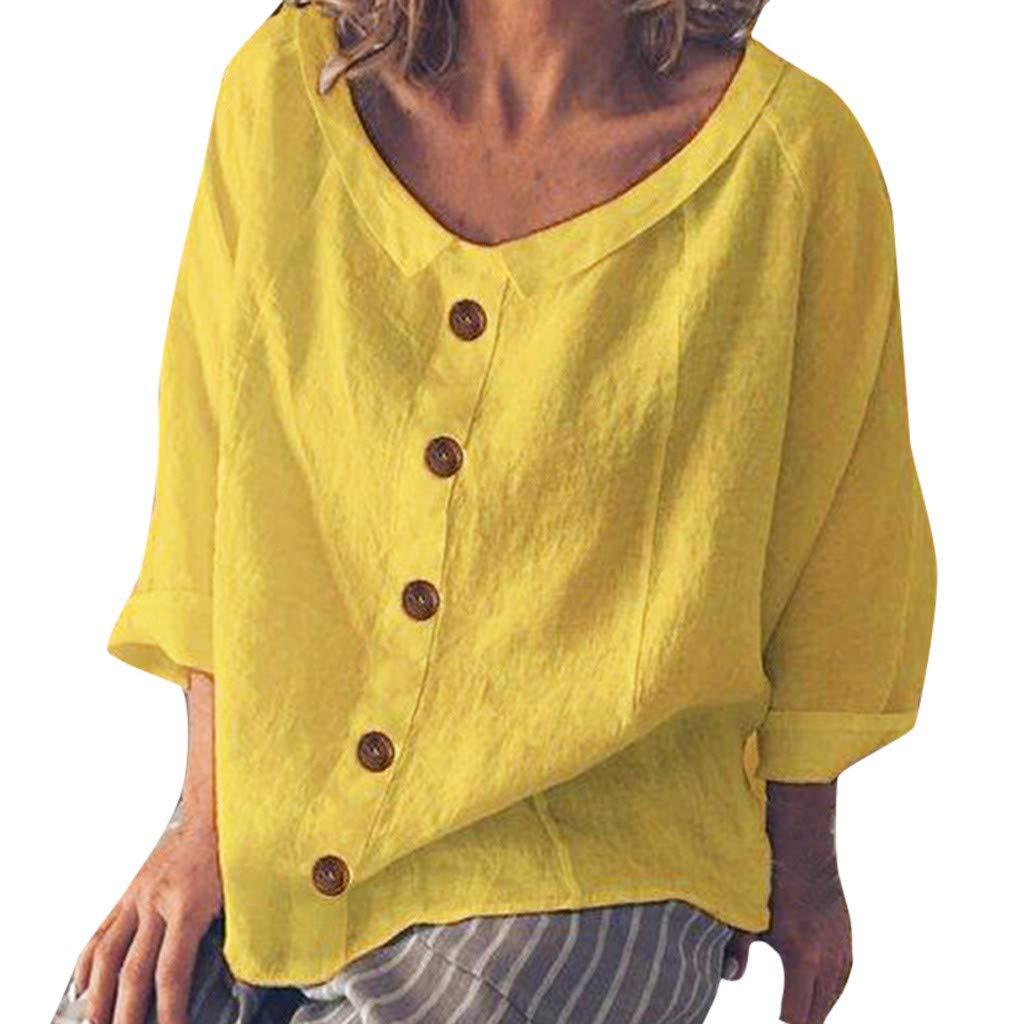 ♫Cotone e Lino Pulsante Manica Lunga Maglietta♫Girocollo T Shirt Vintage Tumblr Magliette Bluse Camicie Canottiera Elegante Tinta Unita Sciolto Traspirante Confortevole Casa Abito