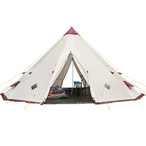 release date 59ca6 8c9c1 Skandika Teepee 301 Wigwam Style Indiana Tepee Tent, Sewn-In Groundsheet,  300 cm Peak Height, 3000 mm Water Column, Sand/Burgundy, 12-Person