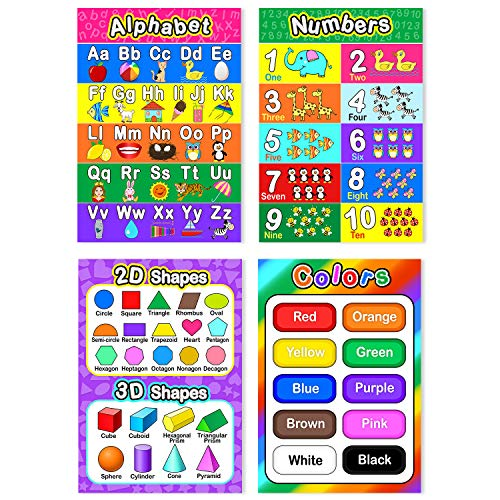 Educational Preschool Poster for Toddler and Kid with Glue Point Dot for Nursery Homeschool Kindergarten Classroom - Teach Numbers Alphabet Colors Days and More 16 x 11 Inch (10 Pieces, Style B)