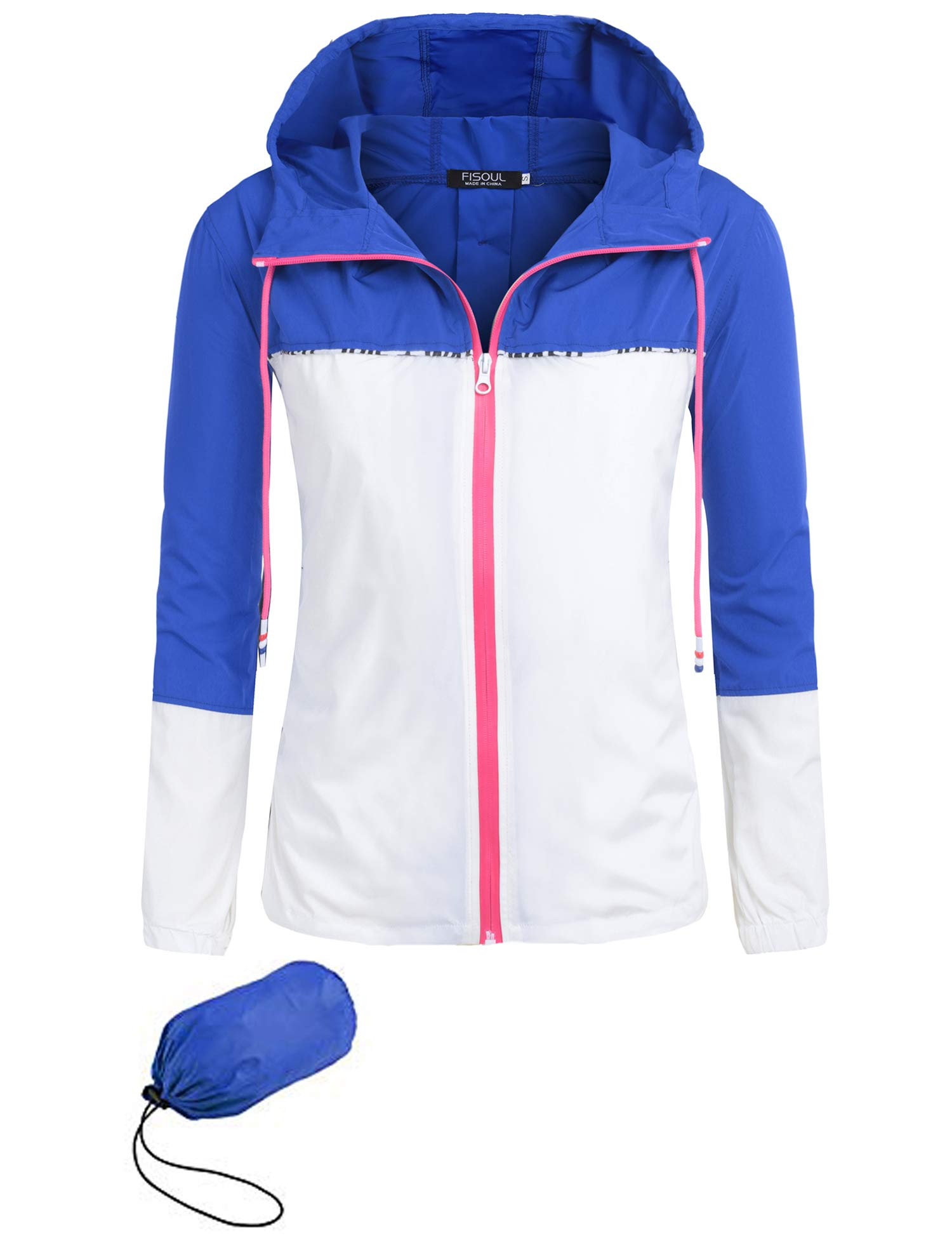 b2b22cd33 Galleon - FISOUL Women's Waterproof Raincoat Active Outdoor Hooded Rain  Jacket Lightweight Windbreaker S-XXL(Blue/White,Medium)