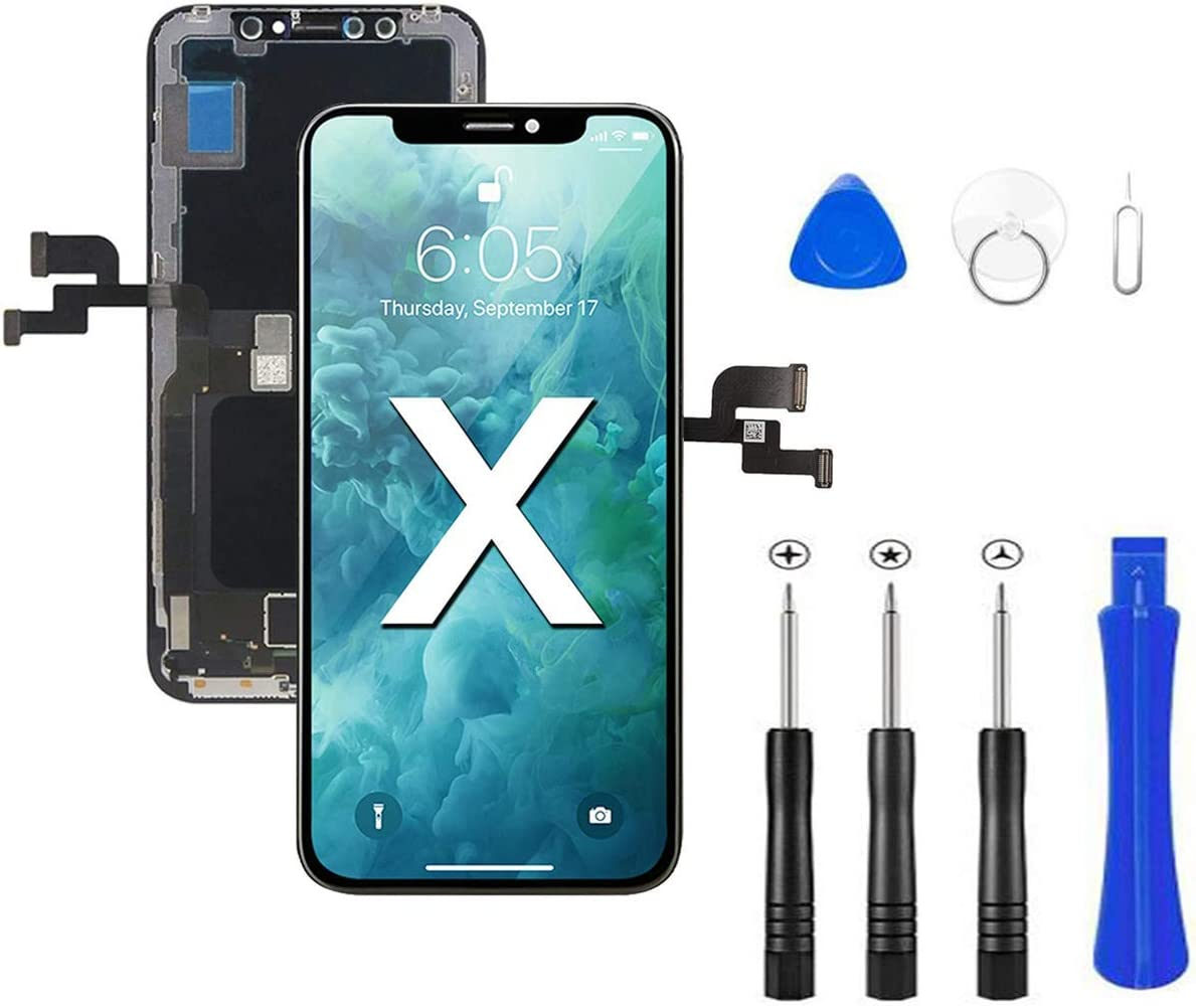 LCD Screen Replacement Kit for iPhone X 5.8 inch with 3D Touch Digitizer Frame Assembly with Repair Tools Kit in Black
