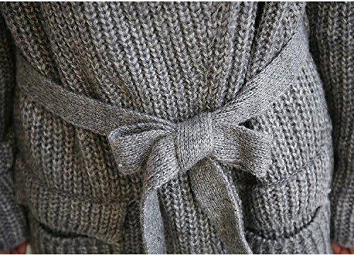YUYUCHI ニット セーター レディース ロングセーター フード付き ベルト付き ニットコート チュニック 防寒 保温 ゆるニット カーディガン ロング  長袖 女性 厚手 カジュアル シンプル 無地