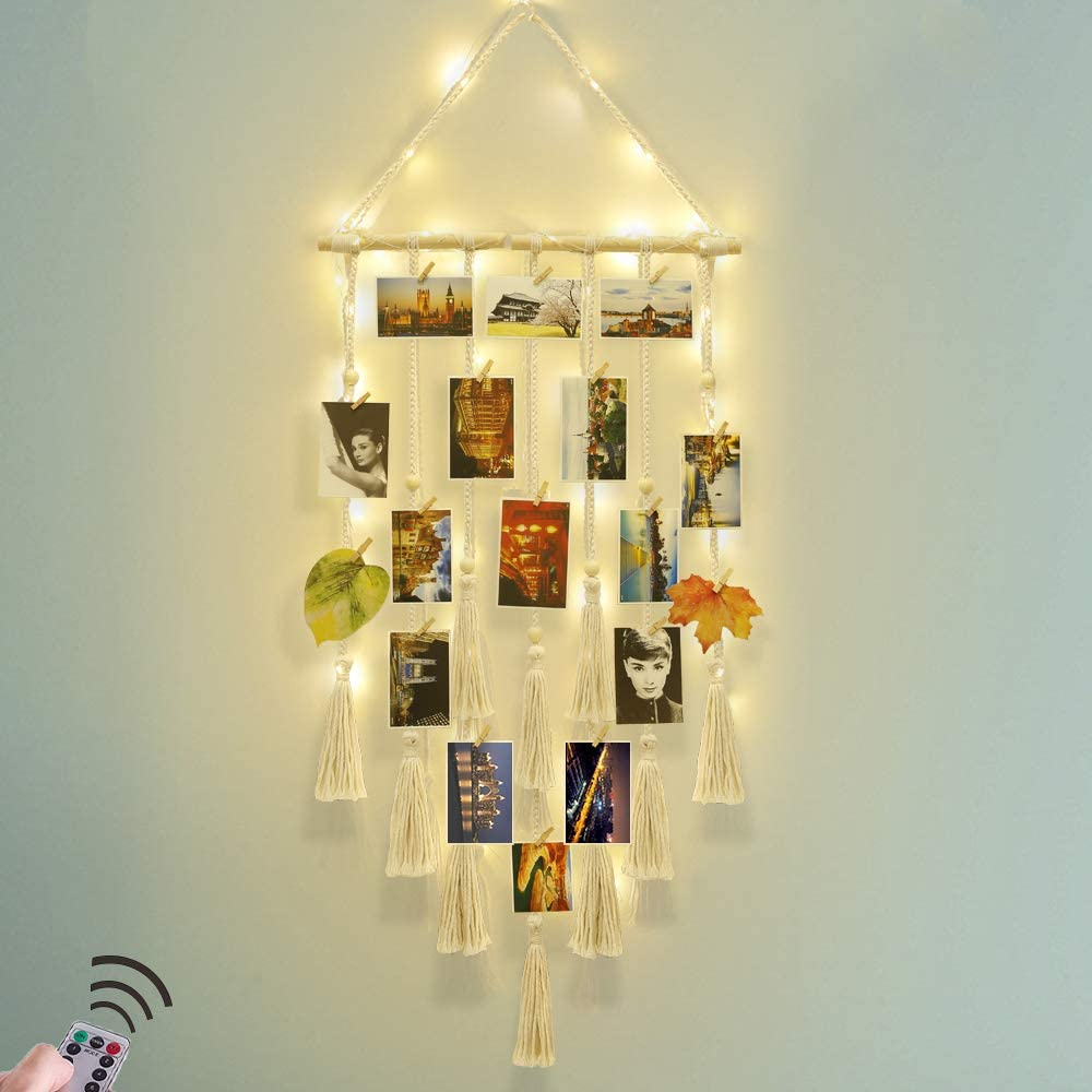 Hanging Photo Display Wall Decor - Macrame Wall Decor Hanging Remote Fairy Light Boho Home Decor with 30 Wood Clips for Photo Collage Frame (Ivory)