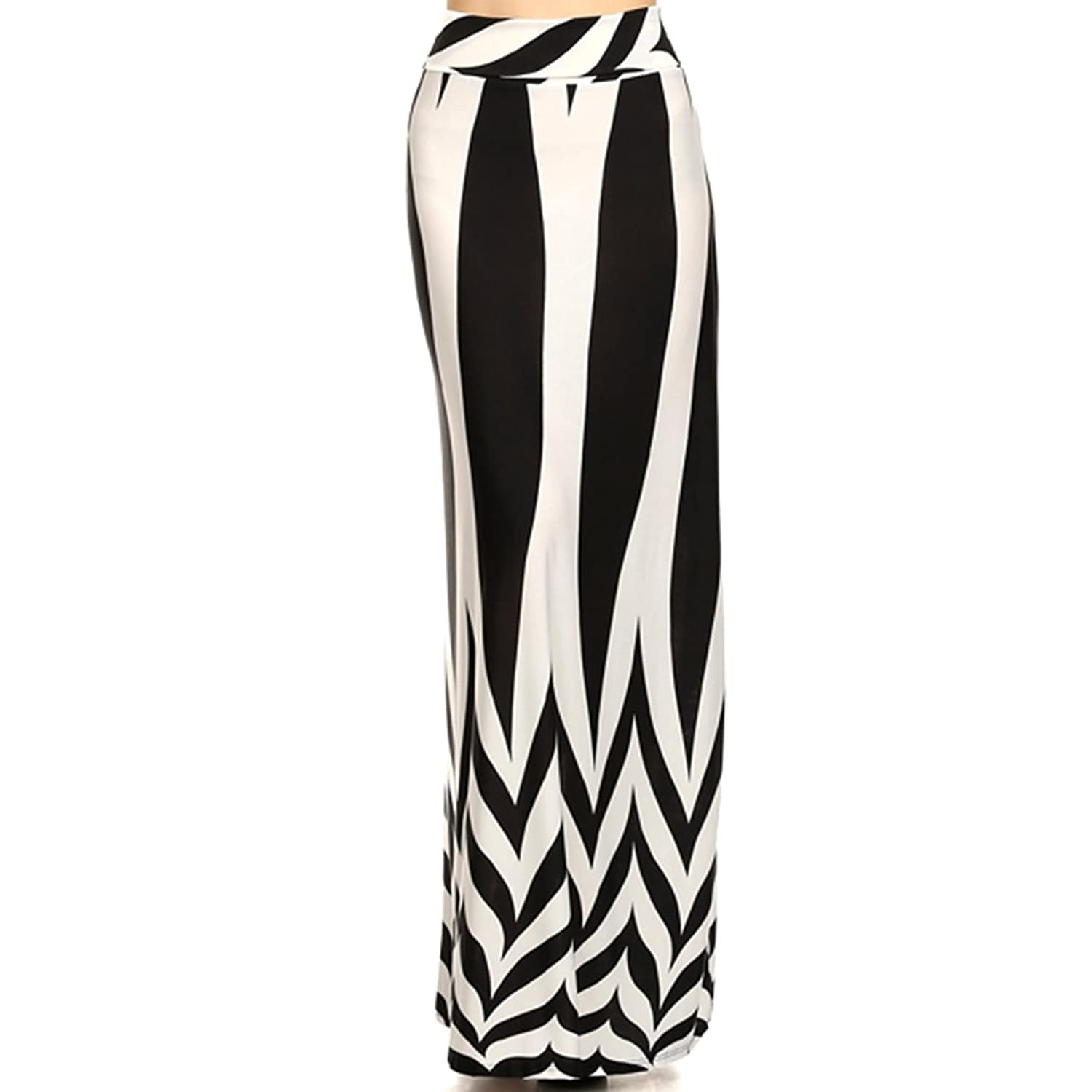 Black and White Striped with Zig Zag Pattern Maxi Skirt, Size Large