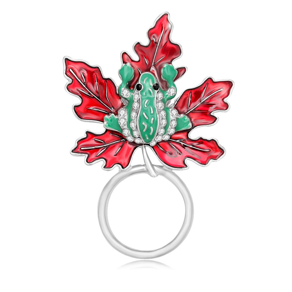 PANGRUI Pretty Frog Maple Leaf Brooch Personality Magnetic Eyeglass Holder (silver)