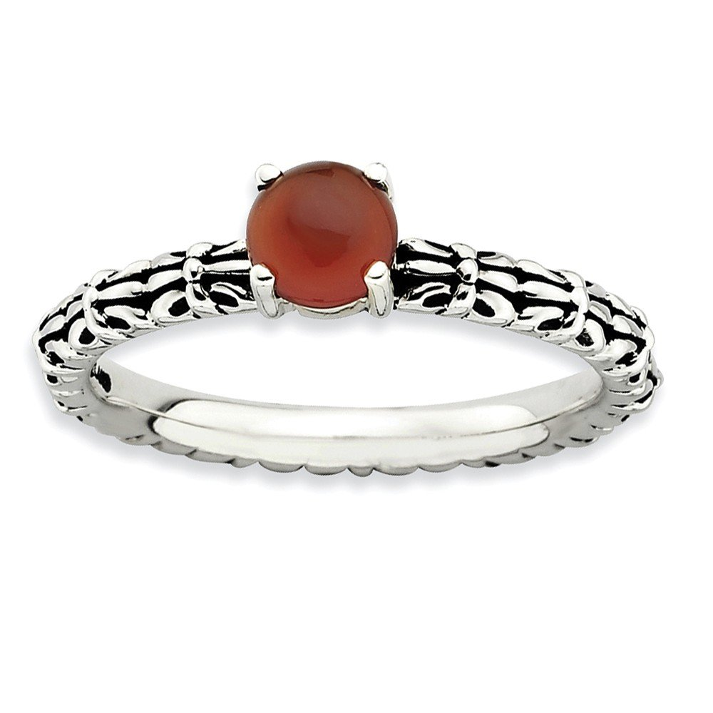 Top 10 Jewelry Gift Sterling Silver Stackable Expressions Antiqued Red Agate Ring