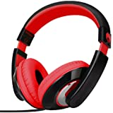 RockPapa Over Ear Stereo Headphones Earphones for Adults Kids Childs Teens, Adjustable, Heavy Deep Bass for iPhone iPod iPad MacBook Surface MP3 DVD Smartphones Laptop (Black/Red)