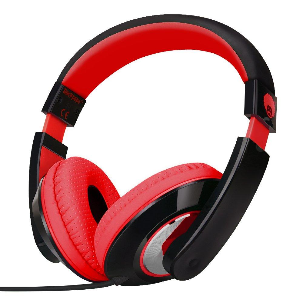 Auriculares RockPapa Over-Ear Stereo Earphones para Adultos Niños Childs Teens Ajustable Heavy Deep Bass para iPhone iPo