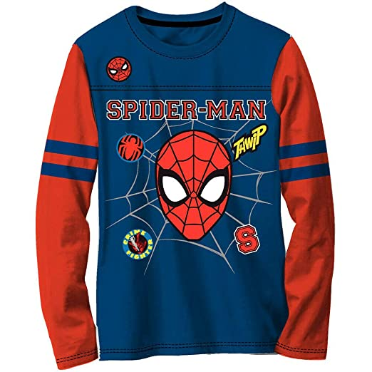 b6a198830 Spiderman Boys Long Sleeve Shirt Kid Little Big Character Marvel,Blue,X  Small 4