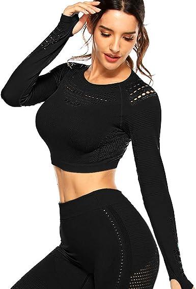 Women Seamless Long Sleeve Yoga Crop Top Running Sport Fitness Workout Tops Gym