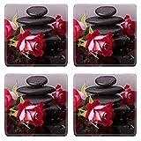 MSD Square Coasters Non-Slip Natural Rubber Desk Coasters design 24288563 Spa stone and rose flowers still life Healthcare concept