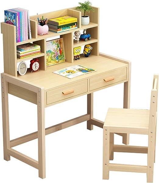 Z.W Juego de Mesa y sillas de crayón de Madera para niños Muebles para Habitaciones de niños, Escritorio para niños Escritorio para niños de 3 a 12 años Niñas Niños con Silla: